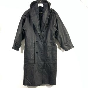 Vintage Black Genuine Leather Hooded Trench Coat